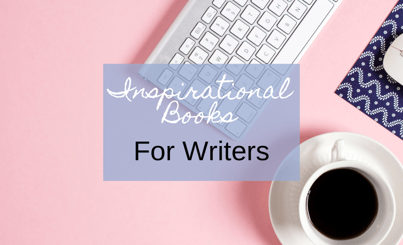 Inspirational Books For Writers with pink background, keyboard, and cup of coffee