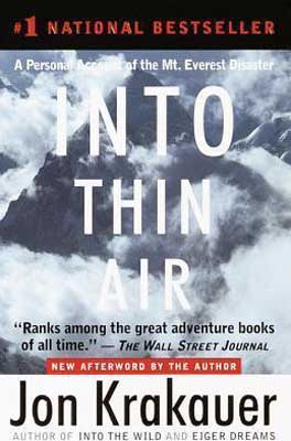 Into Thin Air by Jon Krakauer book cover with snow, mountains, and clouds