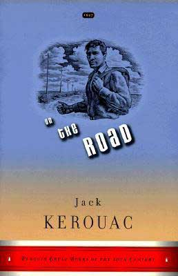 On The Road by Jack Kerouac blue and orange book cover with young man holding a knapsack