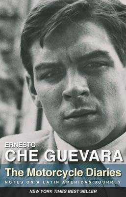 The Motorcycle Diaries by Ernesto Che Guevara book cover with picture of young Latino man