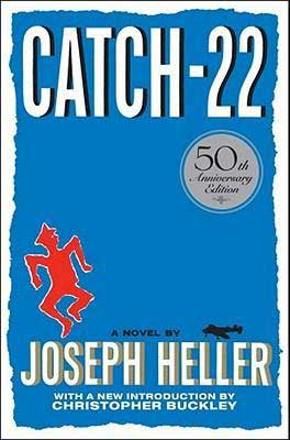 WW2 books for high school like Catch 22 by Joseph Heller blue book cover with little red soldier