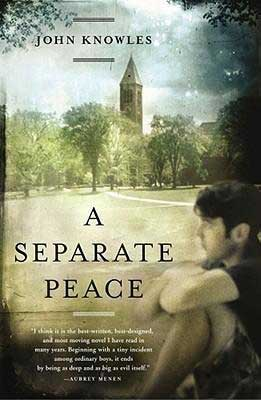 Classic YA World War 2 book like A Separate Peace by John Knowles book cover with boy staring out at tower and grassy school courtyard