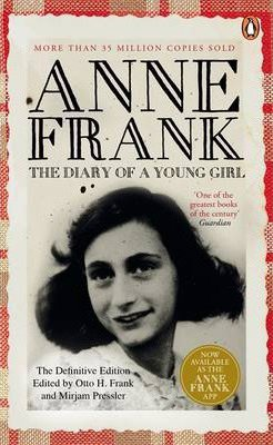 World War 2 books for middle school like, The Diary of a Young Girl Anne Frank book cover with black and white photo of Anne Frank