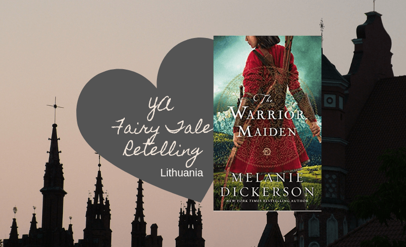 The Warrior Maiden Melanie Dickerson book cover with grey heart and pink and black Lithuanian cityscape