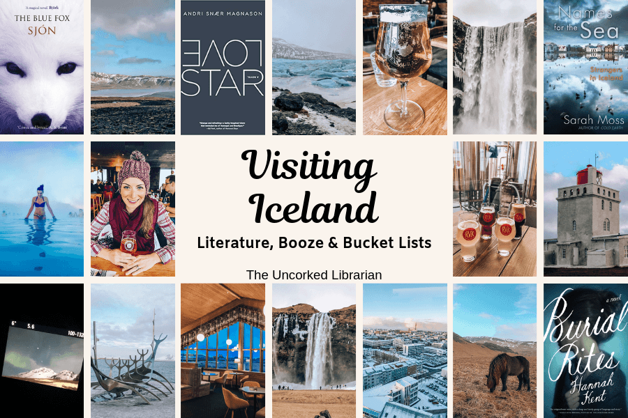 Visiting Iceland in the winter cover with picture collage of waterfalls, Icelandic books, and Icelandic drinks