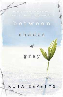 Holocaust books for high school like Between Shades of Gray By Ruta Sepetys with blue and white book cover and green seedling