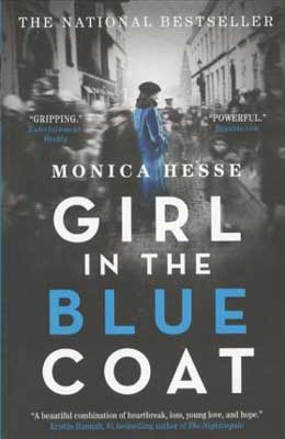 Holocaust books for high school and teens like Girl in the Blue Coat by Monica Hesse book cover with black and white street scene and girl wearing a blue coat
