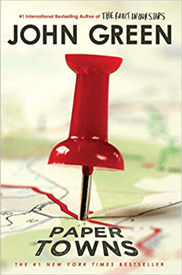 Paper Towns by John Green book cover with red thumb tack on a map