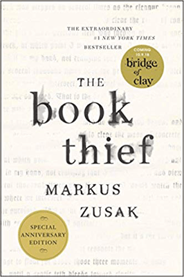 Holocaust books for high school like The Book Thief Markus Zusak white book cover with black printed words.