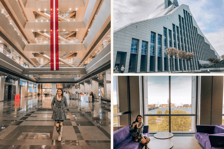 The Baltics for Book Lovers National Library of Latvia collage with inside and outside of the Castle of Light