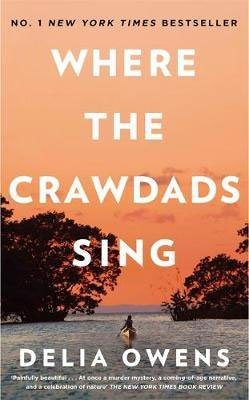 Books Set in North Carolina, Where The Crawdads Sing By Delia Owens, book cover with young girl canoeing in the marshes between two trees
