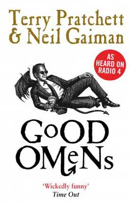 Good Omens by Terry Pratchett and Neil Gaiman book cover with devil with wings sitting on the ground