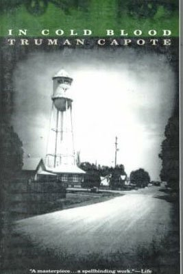 U.S. Books set in Kansas, In Cold Blood By Truman Capote, book cover with black and white picture of a road, buildings, and water tower
