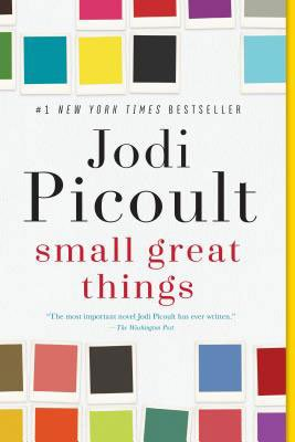 American reading list, Books Set In Connecticut, Small Great Things by Jodi Picoult Book, book cover with colorful squares