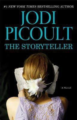 The Storyteller by Jodi Picoult book cover with brunette girl in a purple dress looking at pages