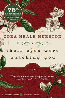 Southern Literature and book set in Florida, Their Eyes Were Watching God by Zora Neale Hurston, red book cover with white flowers