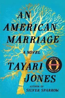 50 States Books Set In Georgia, An American Marriage by Tayari Jones, turquoise book cover with gold tree