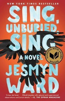 Book set in Mississippi, Sing Unburied Sing by Jesmyn Ward, redish-orange book cover with black bird