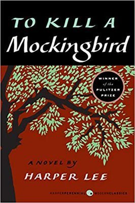 To Kill A Mockingbird by Harper Lee, red and black book cover, with brown tree and green leaves