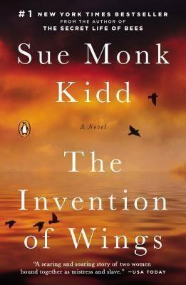 Book Set In South Carolina, The Invention of Wings by Sue Monk Kidd, orange and red book cover with black birds flying