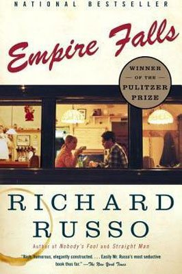 50 States Books set in Maine, Empire Falls by Richard Russo, book cover with boy and girl sitting across from each other in a dinner