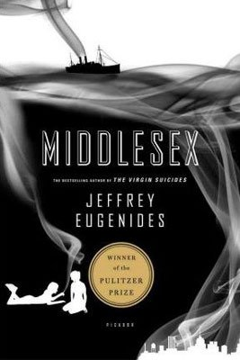 United States reading list, Books Set in Michigan, Middlesex by Jeffrey Eugenides, book cover with city, boat on water, and two people sitting and laying on the ground