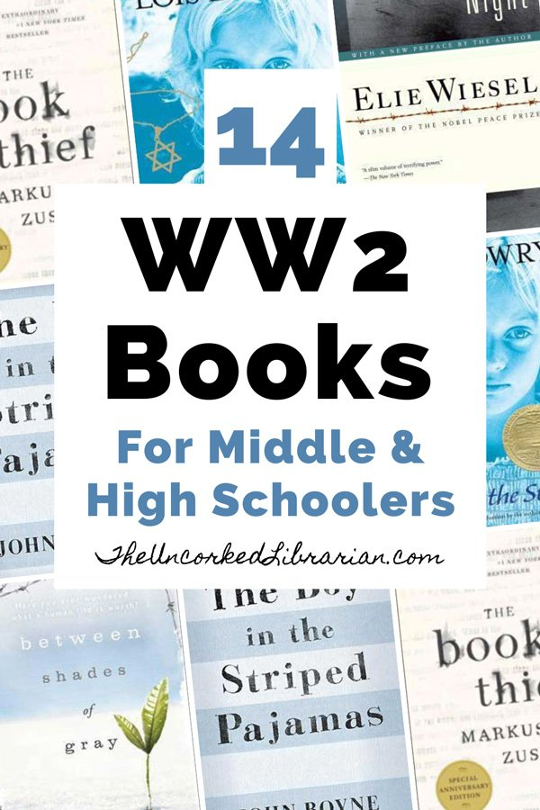 14 World War 2 Books For High School and Middle School pinterest pin with book covers