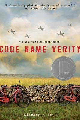 Code Name Verity by Elizabeth Wein book cover with red bikes, stone fence, and gray planes flying over a field