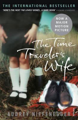 Best Time Travel Books Fiction The Time Travelers Wife by Audrey Niffenegger book cover with young girl's legs with long white socks and black shoes next to men's pair of brown shoes