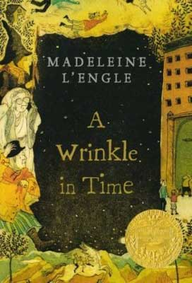 A Wrinkle In Time by Madeleine L'Engle book cover with space