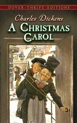Classic Time Travel books, A Christmas Carol by Charles Dickens with man carrying a young boy with cane on his back