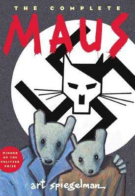 Holocaust Books For High School book cover for Maus by Art Spiegelman with 2 humans that look like nice and a cat in a Nazi symbol