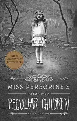 Miss Peregrine's Home for Peculiar Children by Ransom Riggs book cover with levitating young girl on black and white cover