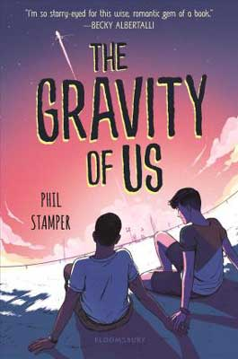 The Gravity of Us by Phil Stamper book cover with two boys sitting in front of purple and pink sky