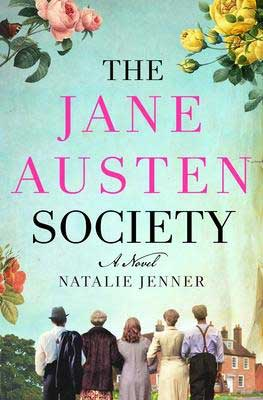 The Jane Austen Society by Natalie Jenner book cover with townspeople's back to the reader and pink house