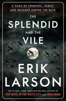 The Splendid And The Vile By Erik Larson book cover with war planes flying over the moon in the night sky