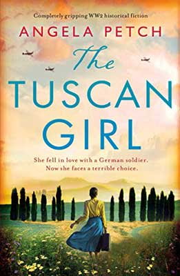 The Tuscan Girl by Angela Petch book cover with woman in yellow top and blue skirt carrying a suitcase