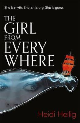 YA Time Travel Books The Girl From Everywhere by Heidi Heilig with red sailed shop on water and woman looking through a crack
