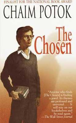 World War 2 books for middle school The Chosen by Chaim Potok book cover with young boy wearing sweater and glasses and carrying books