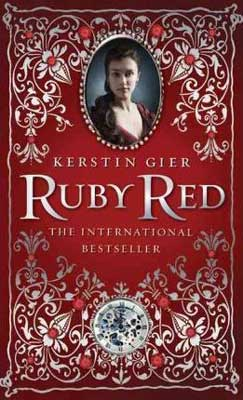 YA Time Travel Books Ruby Red by Kerstin Gier book cover with jewels and portrait of a woman from the 18 century England on red background