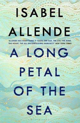 A Long Petal of the Sea by Isabel Allende turquoise and gold patterned book cover