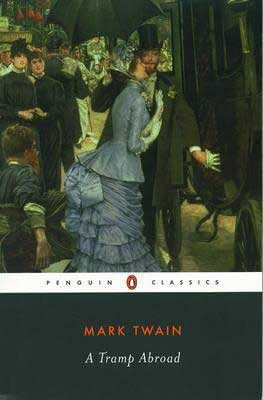 A Tramp Abroad Mark Twain Penguin Classics book cover with man in a top hat and lady in a large blue dress