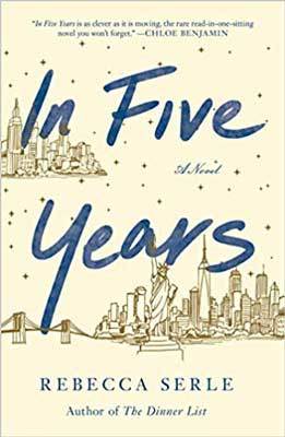 In Five Years by Rebecca Serle tan book cover with sketch of NYC