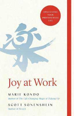 Joy At Work by Marie Kondo and Scott Sonenshein book cover with blue calligraphy character