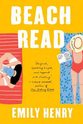 Beach Read Emily Henry book cover with cartoon man and woman each sitting on a beach towel with writing paper and pencils