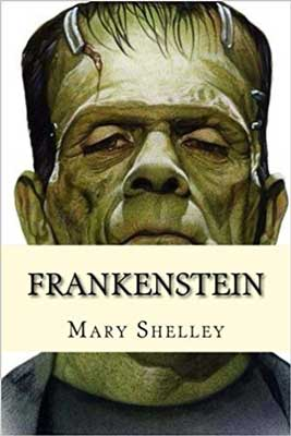 Frankenstein by Mary Shelley book cover with picture of green monster head