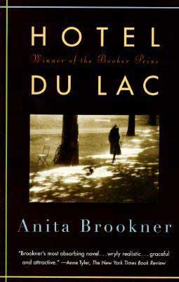 Hotel du Lac by Anita Brookner book cover with a shadowed woman walking down a pathway