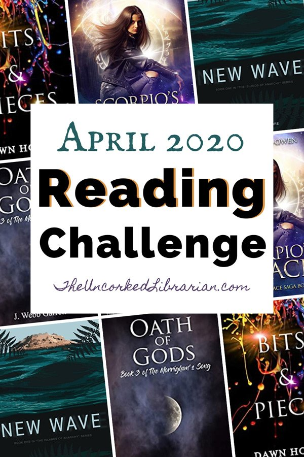 Indie April 2020 Book Discussion Reading Challenge Pinterest Pin with book covers including New Wave, Bits and Pieces, and Oath of Gods.