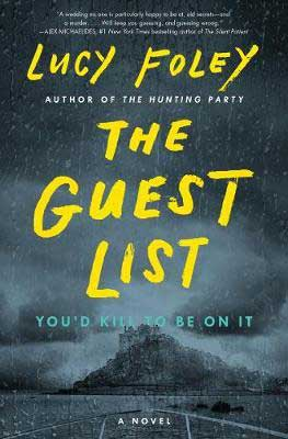 The Guest List Lucy Foley book cover with storm over water and large house on a hill