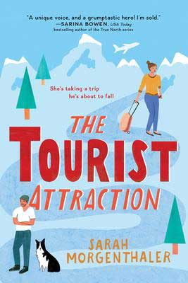 The Tourist Attraction Sarah Morgenthaler blue book cover with guy wearing a beanie and his dog and woman dragging a suitcase